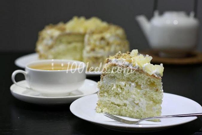 Торт в мультиварке с ананасами и сметанно-сливочным кремом: рецепт с пошаговым фото